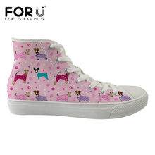 FORUDESIGNS Neue Mode Frauen High Top Schuhe Cartoon Fox Terrier Druck Kawaii Leinwand Turnschuhe Damen Komfortable Vulkanisieren Schuhe(China)