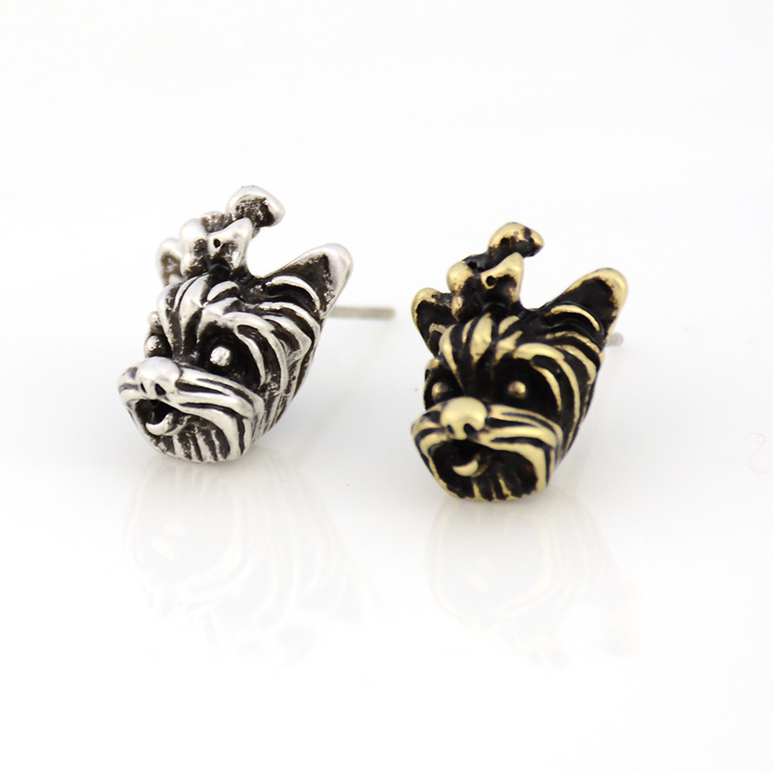 Vintage Yorkshire Terrier Dog Stud Earring Punk Dogs Brincos Love Earrings For Women Jewelry Christmas Gift Black Friday Deals