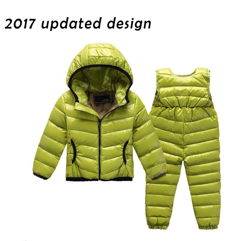 Ensemble de combinaison de neige pour garçons en duvet d'hiver et Parkas manteau de costume pour filles d'hiver chaud ensemble de veste en duvet de canard à capuche solide pour enfants