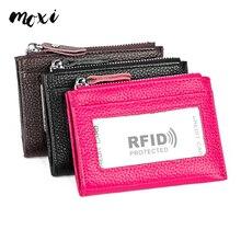 Moxi с защитой от RFID, для карт держатель Для женщин и мужчин кошелек для карточек из натуральной кожи кошельки на молнии, карман для кредитных карт ультра-тонкий Бизнес Футляр для карт