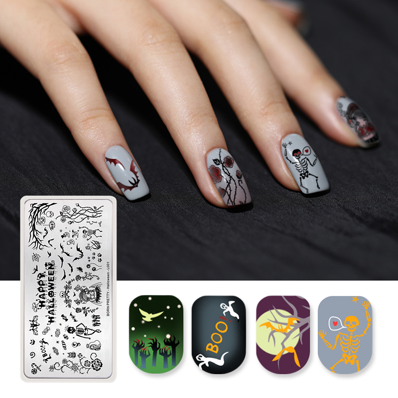 <font><b>BORN</b></font> <font><b>PRETTY</b></font> Rectangle Nail Stamping Plate Template Zombie Bride Bat Nail Art Stamp Plate Halloween Day <font><b>L001</b></font> image