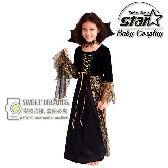 New Baby Girl Dress Halloween Costume Cosplay Clothing Set Cute Wizard Vampire Dress Girl Carnival Performance Clothing brand infants costume series animal clothing set lion monster owl cow clasp elephant kangroo baby cosplay cute free shipping