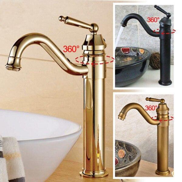 Livraison gratuite Vintage Style antique robinet noir et chrome salle de bain bassin robinets en laiton finition cuisine évier mélangeur robinets Wdk002