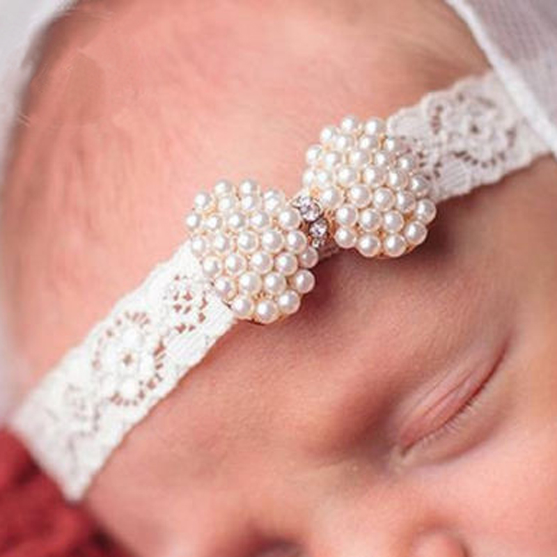 1 PC Lovely Girls Pearl Mini Bow Lace Headband Kids Hairband With Hair Bow Kids Boutique Hair Accessories lovely kids headband rhinestone pearl lace bow headbands kids hair bands hair accessories newborn photography props