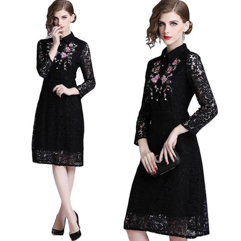 Floral robe de broderie D'hiver Femmes Printemps robe en dentelle Élégante Mince tenue de fête Femmes à manches longues robe en dentelle noire Robes