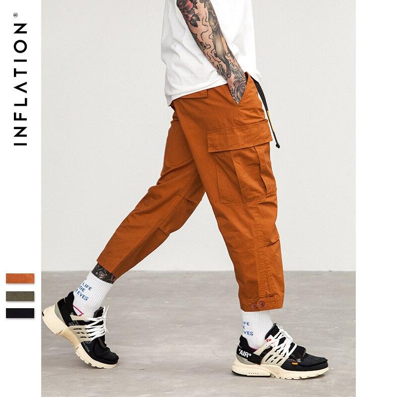 L'INFLATION Mâle Jogger Occasionnel Plus Taille Coton Pantalon Multi Poche Militaire Style Loose Fit Cheville-longueur Pantalon Cargo 8403 s