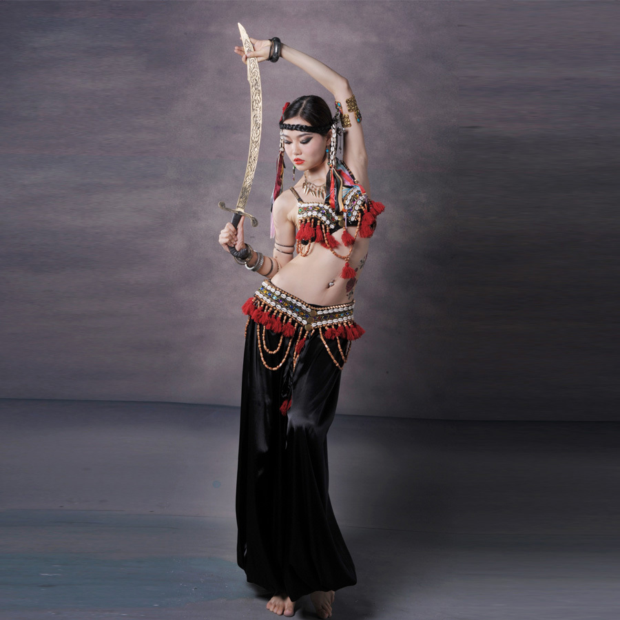 Red Tribal Fusion Belly Dance Costumes Set 3 piece Bra Belt and Haren Pants Gypsy Costume