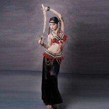 Czerwony Tribal Fusion zestaw kostiumów do tańca brzucha 3 sztuka biustonosz, pasek i szarawary Gypsy kostium spodnie do tańca brzucha kostiumy