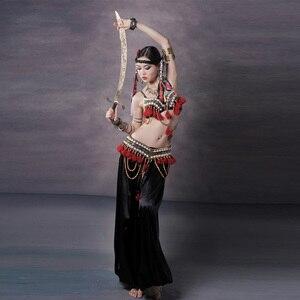 Image 1 - Vermelho tribal fusão trajes de dança do ventre conjunto de 3 peças sutiã, cinto e haren calças gypsy traje calças de dança do ventre trajes