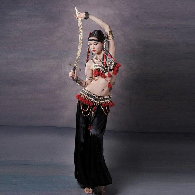 Vermelho tribal fusão trajes de dança do ventre conjunto de 3 peças sutiã, cinto e haren calças gypsy traje calças de dança do ventre trajes