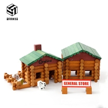 170pcs Farm and Pet Shop Log Cabin Set Creative Models Variety Building Blocks Spell Early Learning Educational Toys