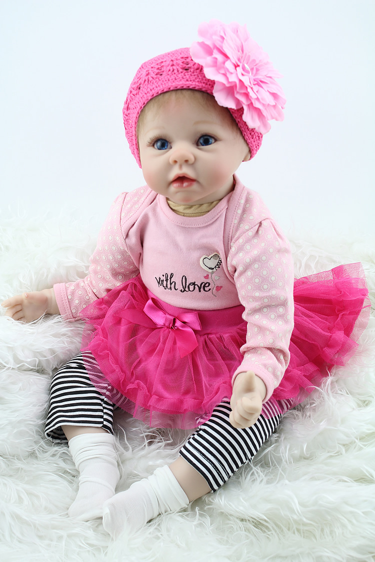 цена на 22inch 55CM Reborn Baby Doll Silicone Vinyl Babies Kid's Toys Mothers Training Doll Children Brinquedos Birthday Gifts for Girl
