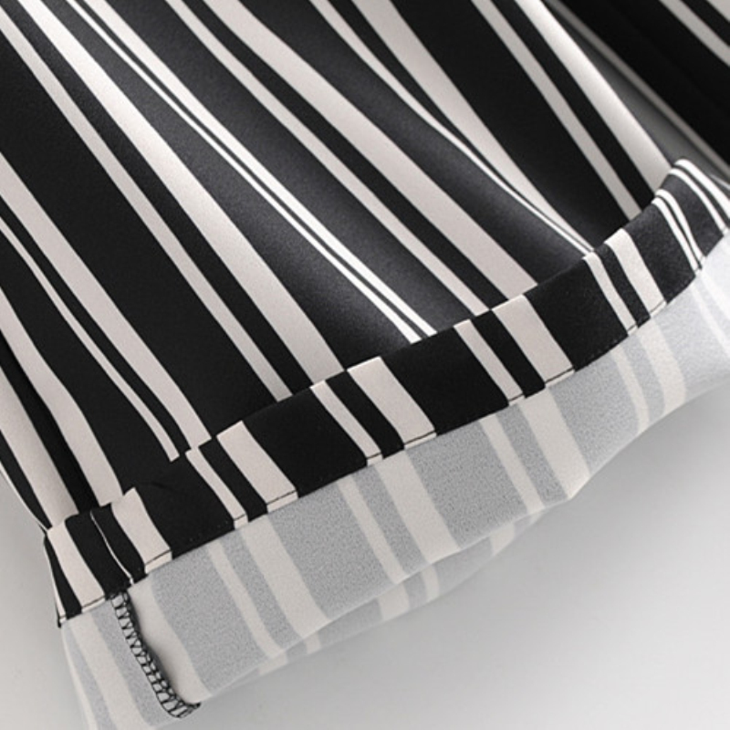 Повседневное женские черные/белые вертикальные полосы Широкие штаны эластичный пояс лук пояса способны женские весна 2018 новые летние