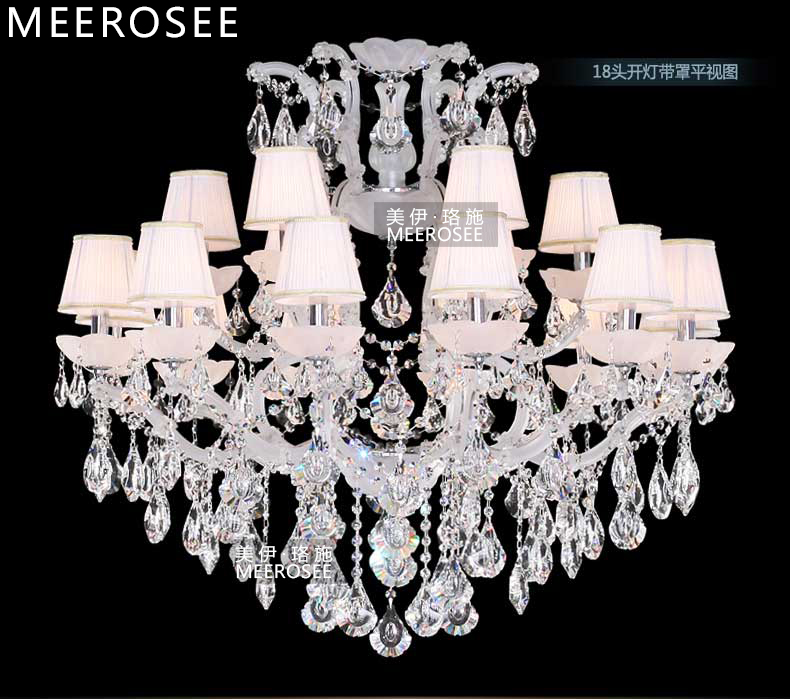 Classic Maria Theresa Chandelier Clear Crystal White Glass 18 Lamp - Pencahayaan dalaman - Foto 2