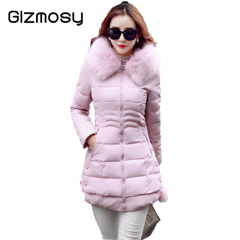 Winter Jacket Women Plus Size Fur Collar Hooded Jacket Female Thicken Feather cotton Coat Long  Warm Casual Parka Outwear SY954