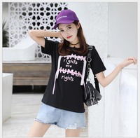 Women Tshirt Pink Letters Print Cotton Casual Shirt For Lady Black Women Tops Tee JY1007