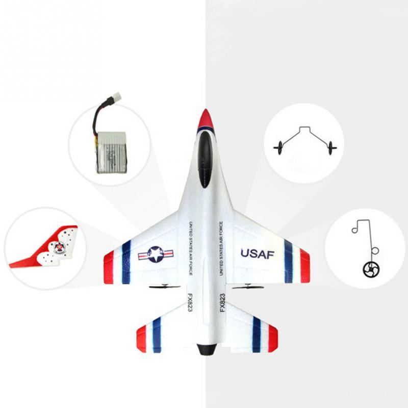 2018 New Original FOR FX-823 2.4G 2CH F16 Thunderbirds EPP Remote Control RC Glider Airplane