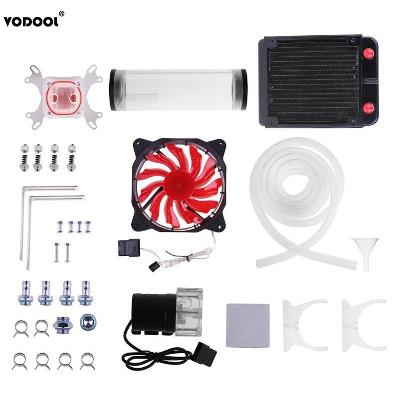 VODOOL PC Système De Refroidissement D'eau Ensemble G1/4 Universal CPU Waterblock 160mm Pompe À Eau Du Réservoir 120mm radiateur 2 m Tuyau De Refroidissement Fans Kit