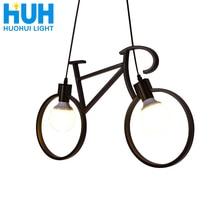 Vintage avize demir bisiklet kişilik yaratıcı kolye lamba E27 110V  240V LED Edison lamba tutucu ev/yemek salonu ışık