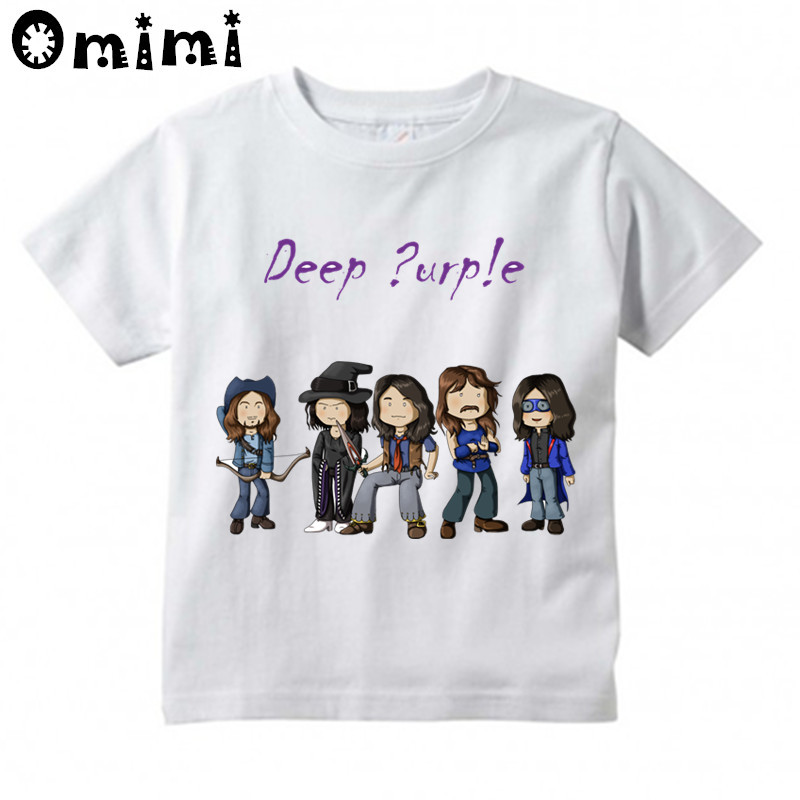 Boys/Girls Deep Purple In Rock England Music Band Printed T Shirt Kids Casual Short Sleeve Tops Children's Funny White T-Shirt