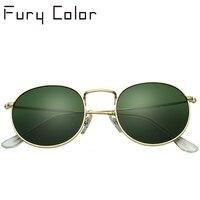Real Glass Lens Uv400 Steampunk Round Sunglasses Men Women Anti UV Polarized Metal Frame Retro Sun