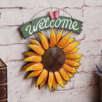 European Style Garden Creative Living Room Wall Decorations WELCOME Sun Flower Pendant Pendant Iron Mural