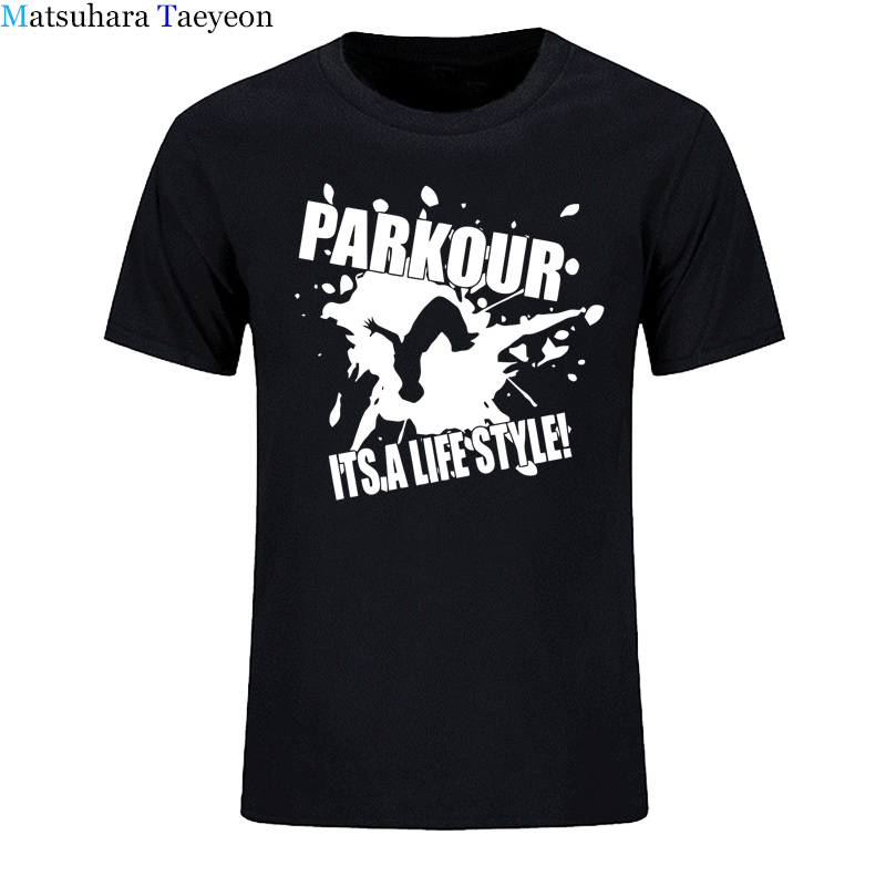 Hombres camiseta manga corta Camiseta Camisa de algodón 2018 nuevo o-cuello casual camiseta ropa marca Parkour su vida