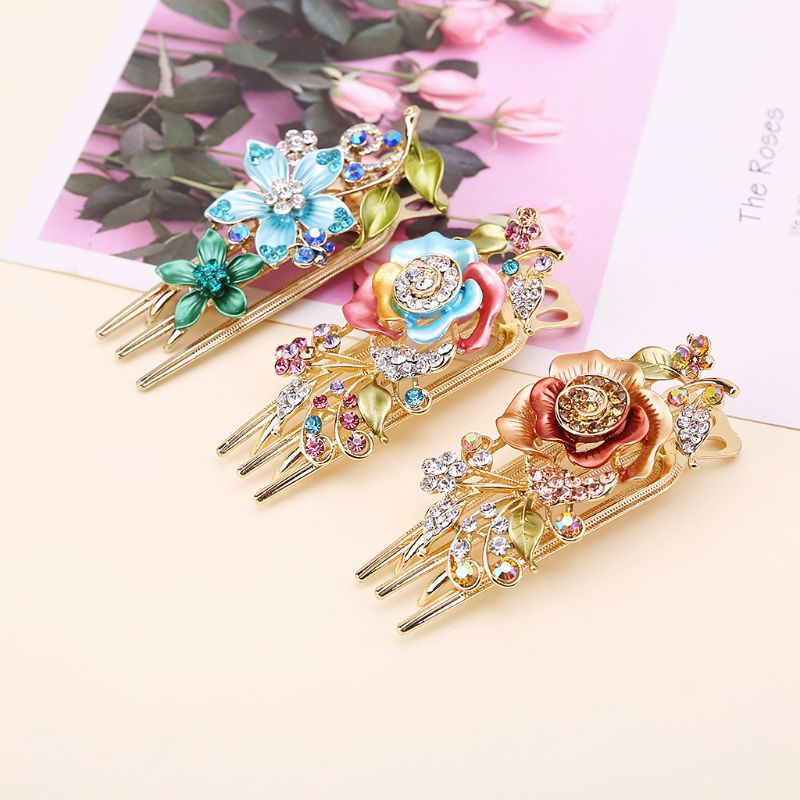 Retro Headdress Painted Hairpin Jewelry Diamond Hair Crystal Hairpin Three-tooth Disc Hair Clip Beauty Tools Hair Accessories
