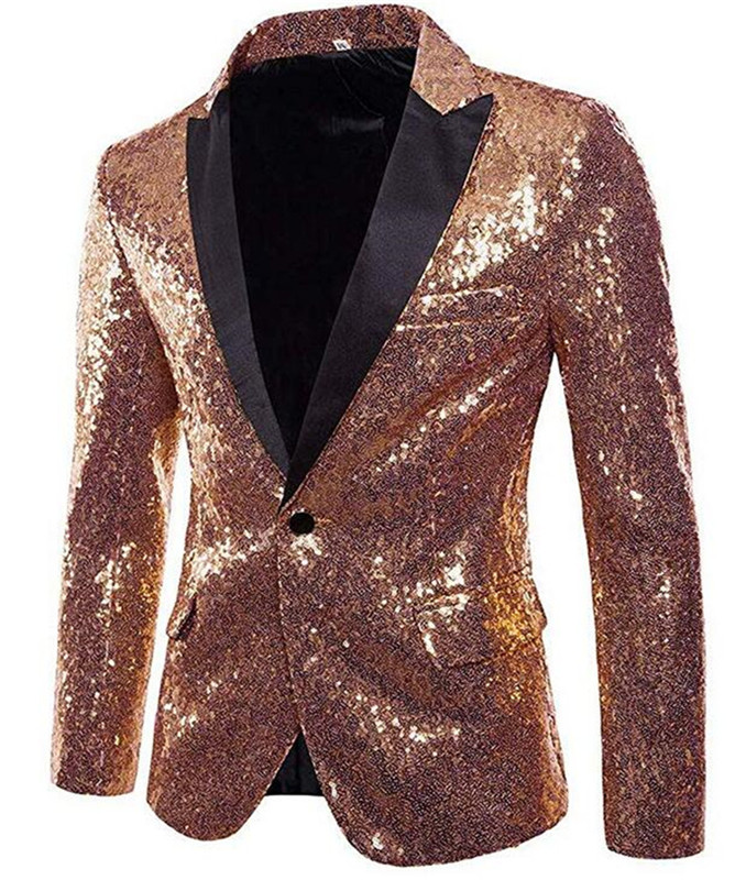 Gorgeous Rose Gold <font><b>Men</b></font> Show Coat <font><b>Men's</b></font> Shiny <font><b>Sequins</b></font> Suit <font><b>Jacket</b></font> <font><b>Blazer</b></font> One Button Tuxedo for Party Wedding Banquet Prom image