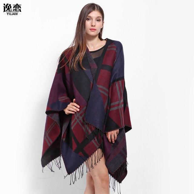 YI LIAN Brand Winter Pashmina Wool Shawl For Women Fashionable Plaid Tassel Scarf  Burgundy, Coffee Color  LA100