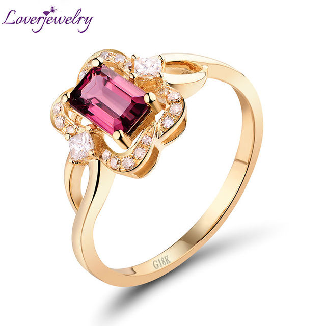 496b6c330705 Natural turmalina Rosa anillo de diamantes en 18Kt oro amarillo buena  piedras preciosas de amor de