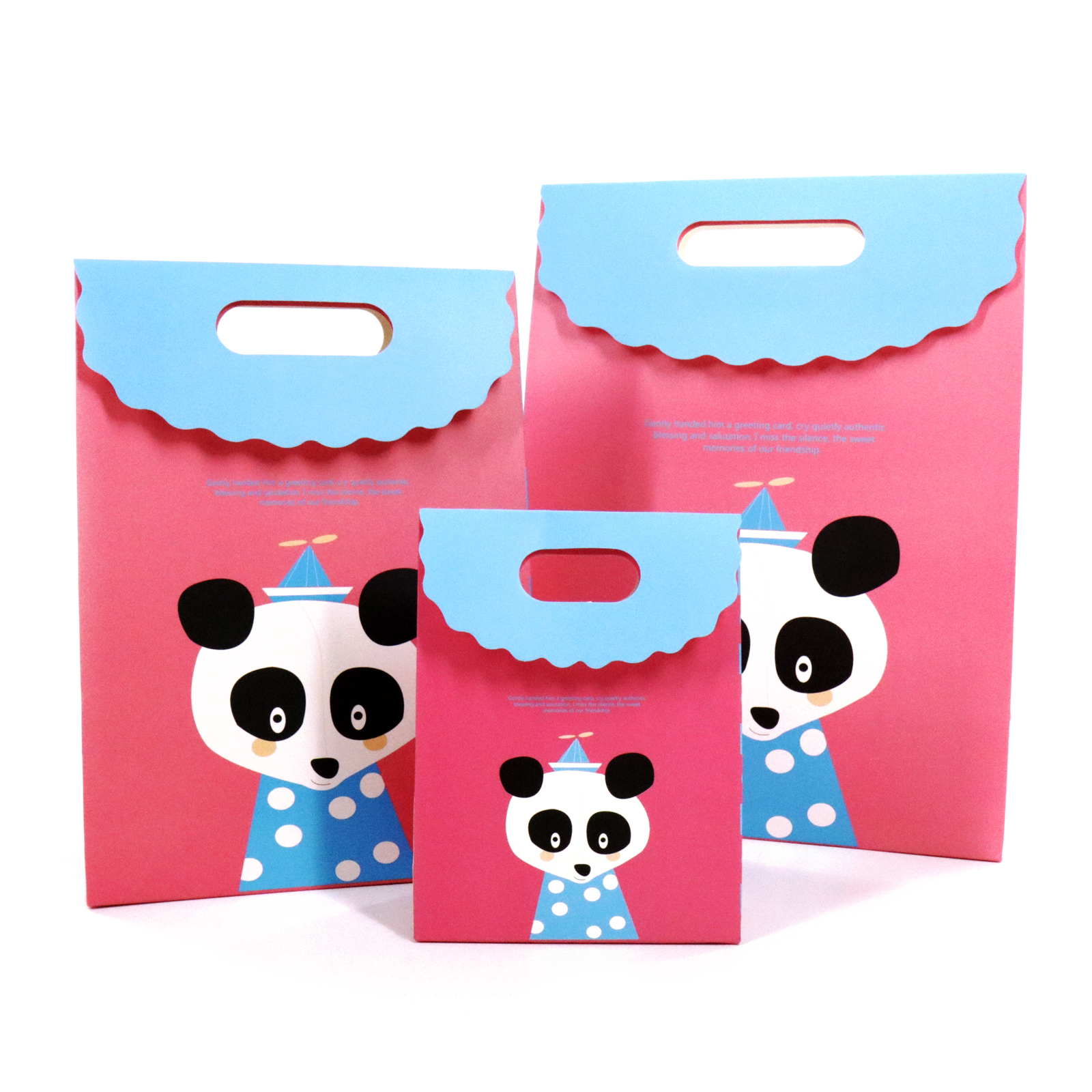 <font><b>Paper</b></font> Cartoon Animal Panda Fox Bags <font><b>with</b></font> <font><b>Handle</b></font> Packaging Candy Gift Handbags <font><b>Box</b></font> For Birthday Baby Shower Wedding Party Supply image