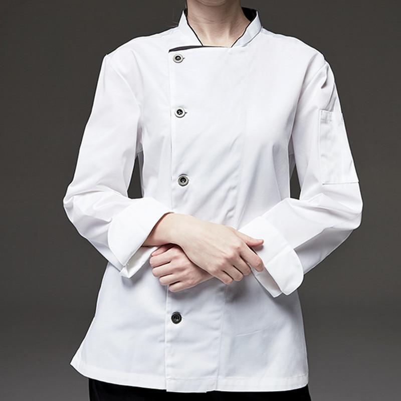 Black White Long Sleeve Chef Shirt D74-2