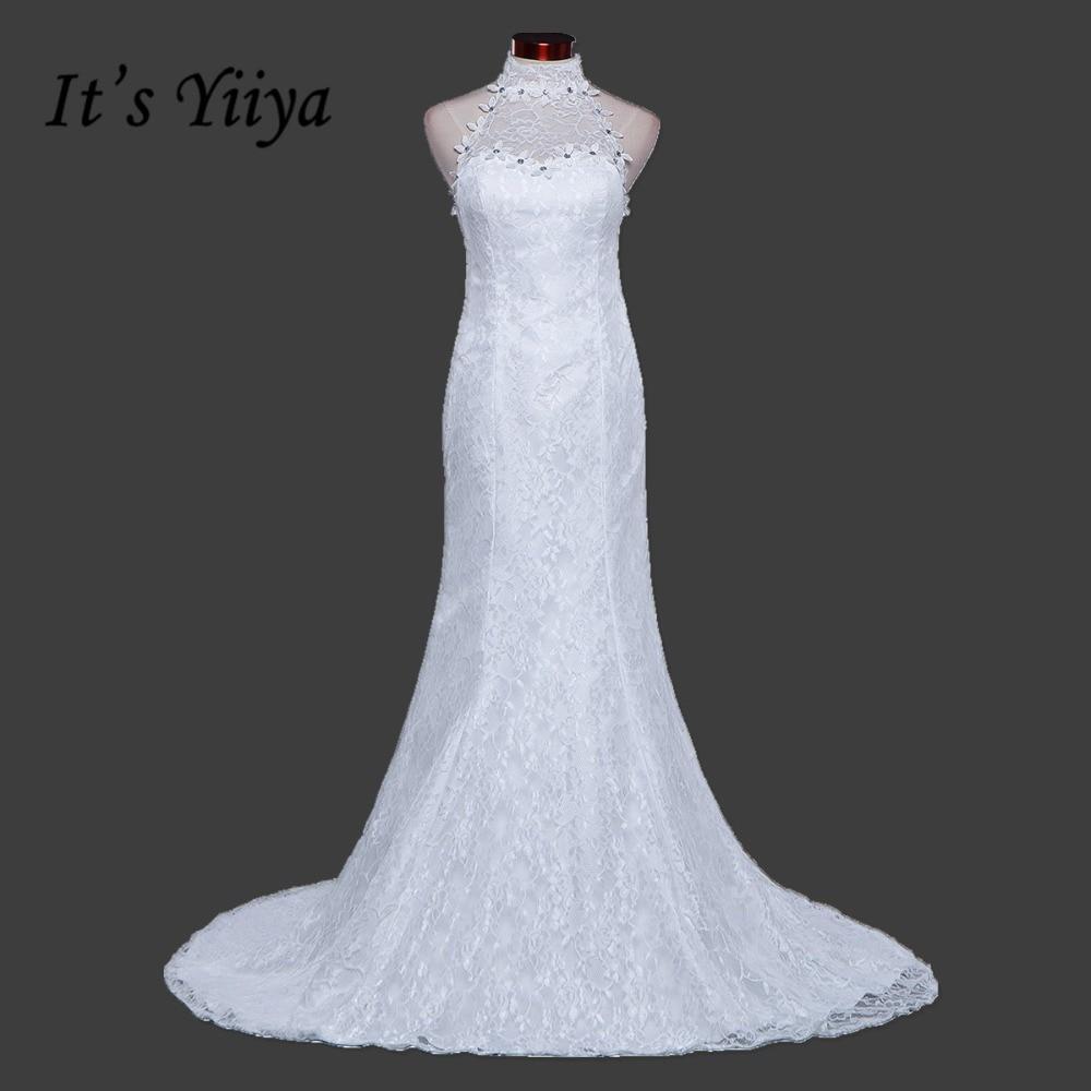 New 2017 Plus Size Halter Lace Mermaid Wedding Dresses Cheap Red White Trailing Bride Frock Custom Made Vestidos De Novia XXN165