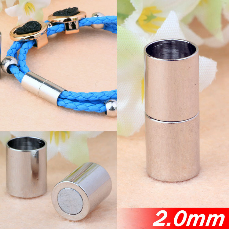 Fit 2mm Necklace Bracelets Round Leather Cords Ropes Jewelry End Magnetic Clasps Buckles Rhodium Plated Copper Metal Components