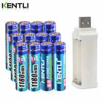 Bateria recarregável do li-íon do lítio do polímero de kentli 1.5v 1180mwh aaa + 4 slots carregador do li-íon do lítio