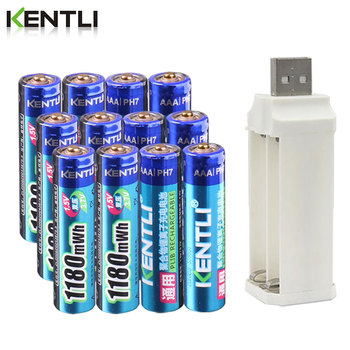 KENTLI 1.5v 1180mWh aaa polymer lithium li-ion rechargeable batteries battery + 4 slots charger