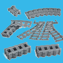 NEW!!! Bulk Parts Train Streight and Curve Track Building Brick Block toys Compatible with  RC Trains Blocks Model