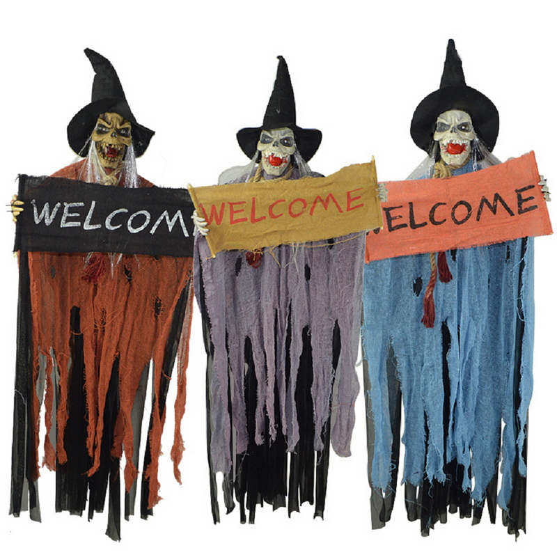 1pcs halloween props creepy hanging reaper voice ghost spoof tricky scaryhaunted house yard bar scary decor - Halloween Props For Sale