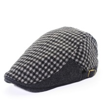 Plaid cap new high-grade stuffed small lattice splicing section men and women autumn winter essential fashion