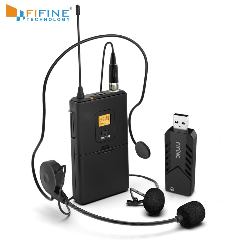 FIFINE Wireless Lavalier Microphone for PC Mac with USB Receiver Free Your Hands for Interview Recording