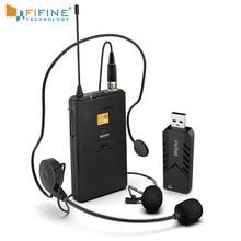 FIFINE Wireless Lavalier Microfono per PC Mac con Ricevitore USB per Liberare Le Mani per Podcast Vocale Registrazione Intervista 031B