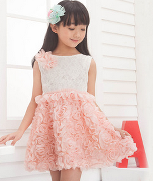 Retail New Style Girl Summer Sleeveless Lace Dress 3 Colors Children Casual Dress Girl Party Dresses Free Shipping  D21