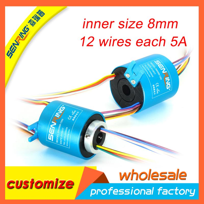 Mini bore size 8mm OD 35mm of through hole slip ring 12 wires each 5A