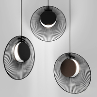 Moderne minimalistischen schwarz farbe eisen LED beleuchtung einzigen kronleuchter Nordic wohnzimmer dekoration E27 hängenden lampe 450mm|Pendelleuchten|Licht & Beleuchtung -