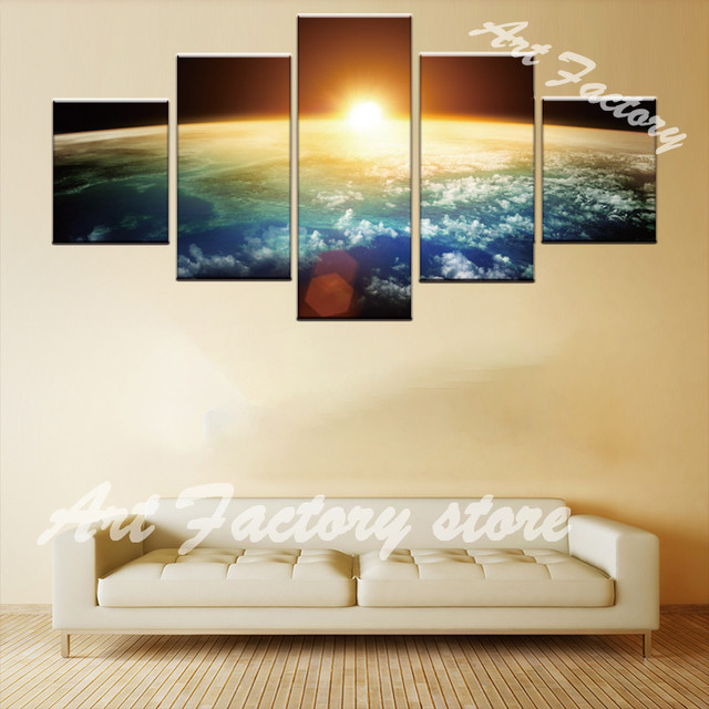 5 Panels Large Landscape Beautiful Morning Planet Earth Print on ...