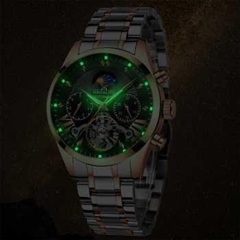 MEGALITH Luxury Tourbillon Automatic Mechanical Watch Men Waterproof Luminous Auto Date Week Watch Men Sport Casual Wristwatches