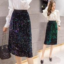 Coreano elástico cintura Retro conmute alta cintura fiesta rave Outfit Glitter faldas lentejuelas reflectante Midi Falda Mujer Clothes2019