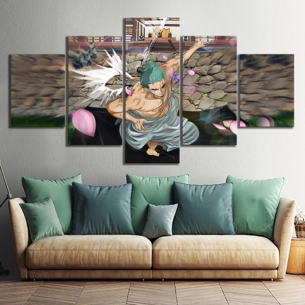 5 Piece One Piece New Wano Country Roronoa Zoro Anime Poster Canvas Painting Wall Pictures for Living Room Home Decor