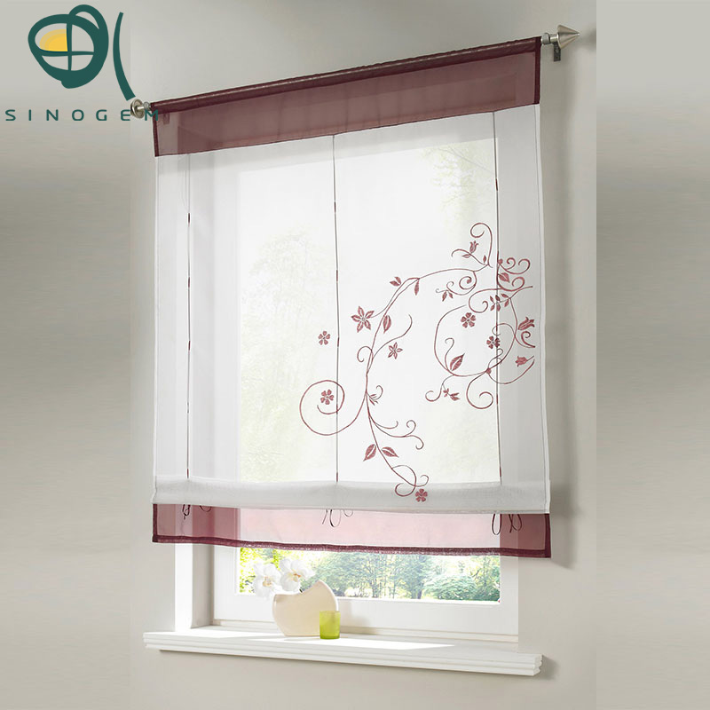 Aliexpress Com Buy Kitchen Short Curtains Window: Aliexpress.com : Buy Sinogem Brand 2017 Pastoral Embroidered Roman Short Curtain Sheer Window